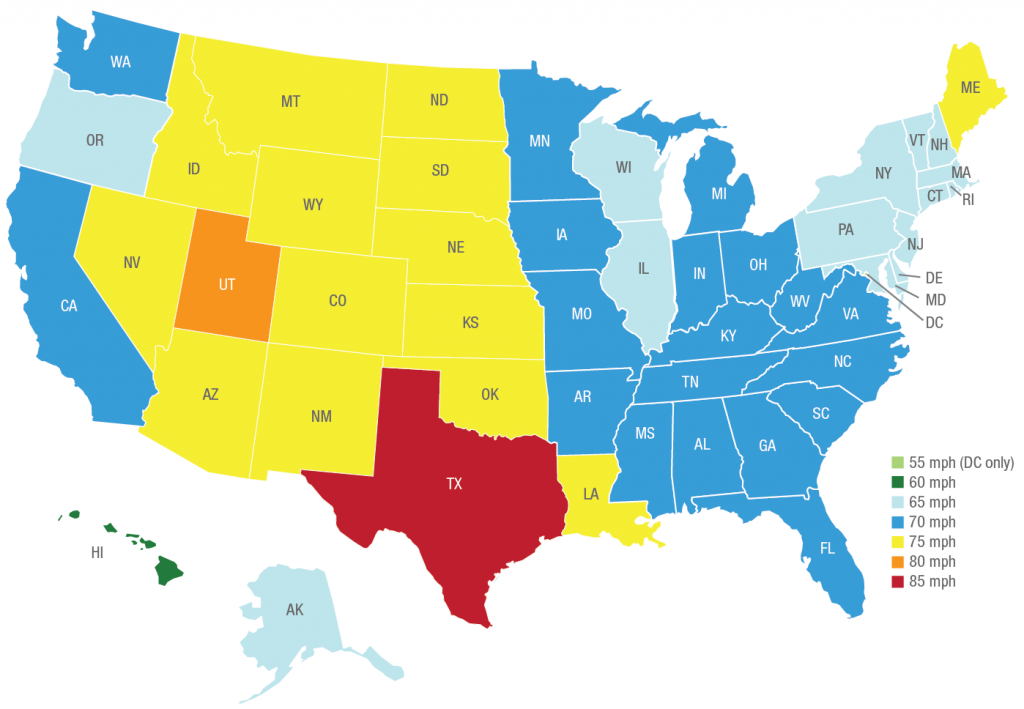 US State Speed Limit Map